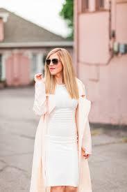 beige trench coat white dress style gala by sarah simonsen