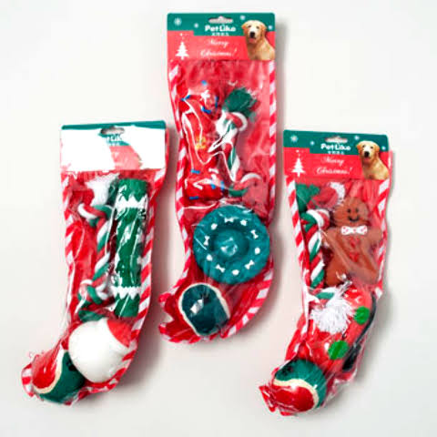 Christmas Dog Toy Stocking - 3 Assorted Styles Case Pack 32