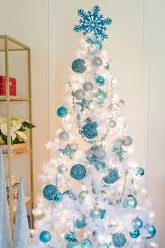 Pure White Trees Look Amazing With Blue Ornaments Of Various Shades