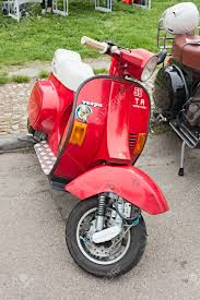 Italian Scooter Tuning Vintage Vespa Modified With Disc Brake At Motorcycle Rally