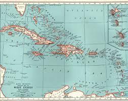 1939 Antique CARIBBEAN Map West Indies Islands Beach House Ocean Decor Gallery Wall Art Gift For