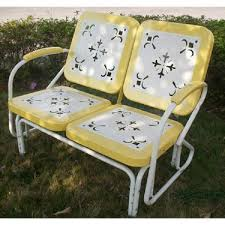 Veranda Metal Patio Loveseat Glider by Reproduction Inventory Vintage Metal Gliders Old Fashioned Metal
