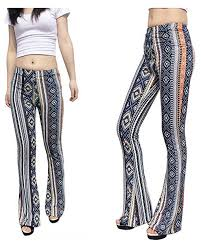 Jubileens Womens Foral Print High Waist Wide Leg Long Flare Bell Bottom Yoga Pants