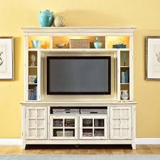 Wooden Entertainment Center White With Top Open Shelves And Glass Door Cabinet At