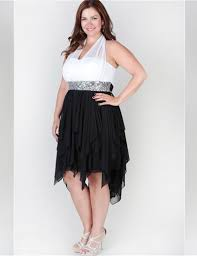 popular plus size black and white cocktail dress buy cheap plus