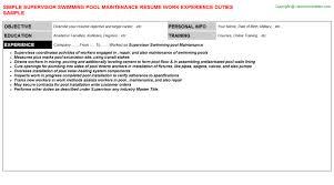 SUPERVISOR SWIMMING POOL MAINTENANCE RESUME SAMPLE SIMPLE CV DOCUMENT WRITING EXAMPLE