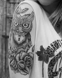 Half Sleeve Tattoos For Girls And Boys43 Owl Rose Tattoo
