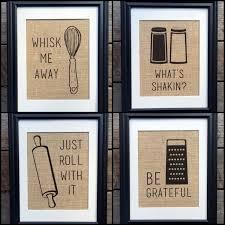 Choose Four Funny Kitchen Burlap Prints