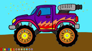 How To Draw Monster Truck For Kids. Cartoon Truck Drawing And ...