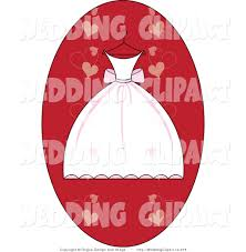 vector marriage clipart of a wedding white and pink dress on a hanger over a red heart oval by pams clipart 275