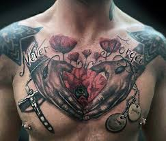 Poppy Flower Never Forget Mens Memorial Chest Tattoo With 3d Design