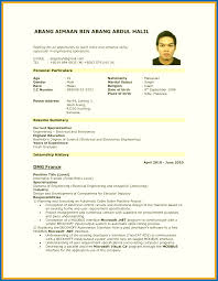 Resume Vs Cv Malaysia Sample Pdf For Job Application Example Format
