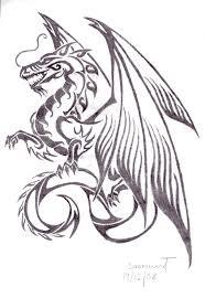 Tribal Chinese Dragon Tattoo Sketch
