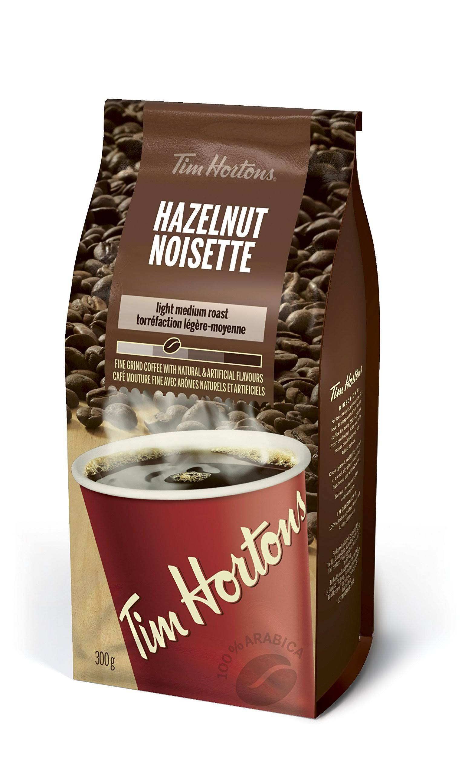 Tim Hortons Hazelnut (Noisette) Light Medium Roast Fine Grind Coffee - 300g