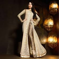 Buy Cream Front Slit Pant Style Suit Online Women Ethnic Wear At