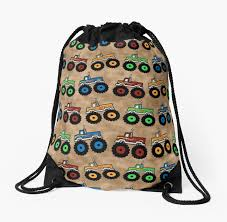 100 Monster Truck Backpack S Drawstring Bags By AnitaValle Redbubble