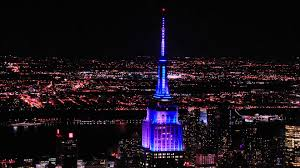 Empire State Building Lights for the Yankees Subway Series