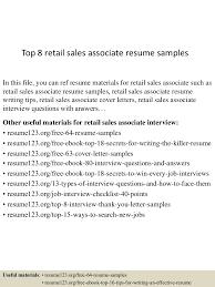 Top 8 Retail Sales Associate Resume Samples