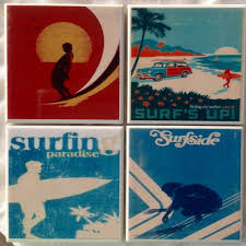 handmade surfing retro ceramic tile drink coasters surf s up