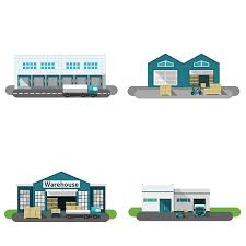 Warehouse Building Flat Vector Art Illustration