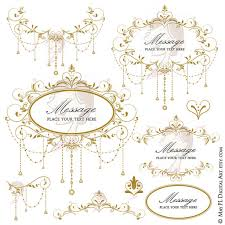 Antique Gold Wedding Clip Art Garland Retro Foliage Clipart Vine Frame Chandelier Design DIY Graphics 10691 From MayPLDigitalArt On Etsy Studio