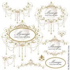 Antique Gold Wedding Clip Art Garland Retro Foliage Clipart Vine Frame Chandelier Design DIY Graphics 10691 From MayPLDigitalArt On Etsy Studio