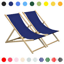 Details About Wooden Deck Chair Folding Garden Beach Seaside Patio BBQ  Deckchair Navy Blue X2