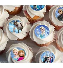30 X Disney Frozen Elsa Anna Oalf CupCake Toppers Edible Rice Paper 15 Image Fd And