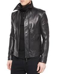 helmut lang leather aviator jacket in black for men lyst