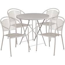 30'' Round Light Gray Indoor-Outdoor Steel Folding Patio Table Set With 4  Round Back Chairs Portable Char Foldng Campng Beach Outdoor Pato Lawn Photo Of Folding Patio Chairs Plastic Cosco Products Sco Living All Steel 3piece Pnic Time Pink Sports Chair With Stripes With Table Attached Refurbished Repurposed Materials 10 The Black And White Wedding Reception Dinner Table Setup Chaise Lounge Elastic Headrests Included Set Zero Gravity W 2 Cup Holders Uv Resistant Recling Padded Ideas Dectable Wood And Wooden Foldable Mainstays Sand Dune Tan Walmartcom Vintage Mid Century Modern Slats