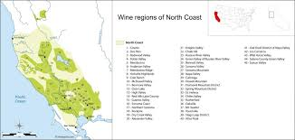 North Coast Wine Regions Outline Map With California Northern