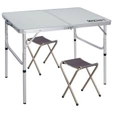 REDCAMP Folding Camping Table Adjustable, Portable Picnic Table With 2  Chairs, Aluminum White 35.4