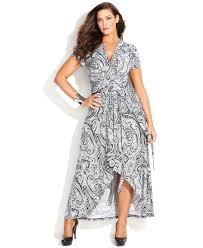michael kors michael size printed fauxwrap maxi dress in