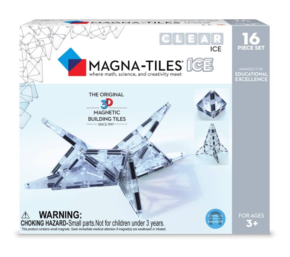 Magna-Tiles 16 Piece Ice Set Magnetic Building Creativity & Educational