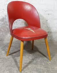 retro stuhl polster rot vintage kunstleder leder 50er 60er holzbeine gebraucht second