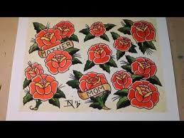 Sailor Jerry Style Roses Tattoo Flash Painting YouTube 480x360