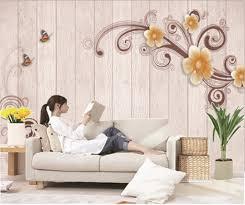 100 Decorated Wall Custom Retail Hand Painted Imitation Wood Diagonal Flowers