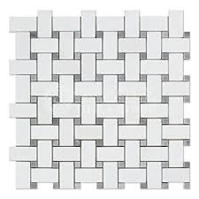 thassos white marble basketweave mosaic tile with bardiglio
