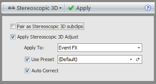 Stereoscopic effects in Sony Vegas Pro Stereoscopic 3D Subclips