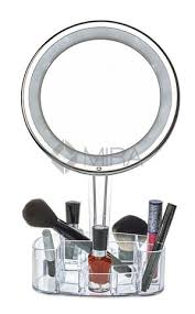 daisi 7X Magnifying Lighted Makeup Mirror & Cosmetic Holder Base