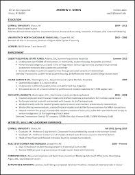 Sample Investment Banking Resume Banker Intern Example