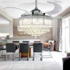 Crystal Chandelier Polished Chrome Modern Ceiling Fan Retractable Blades
