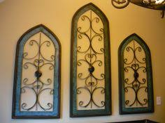 Set Of 3 Wood Iron Cathedral Style Windows Spanish Hacienda Tuscan Decor