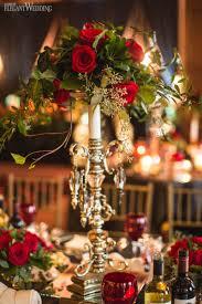 Tall Gold Candelabra Red Rose Wedding Centerpiece