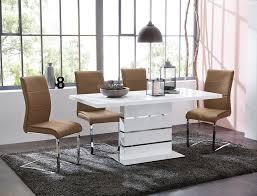 säulentisch 120 160 x80x76 cm weiß hochglanz esszimmertisch tisch