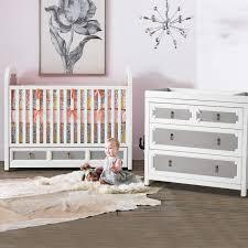 Sorelle Dresser French White by Dwellstudio Vanderbilt 2 Piece Nursery Set Convertible Crib And