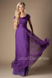 Cap Sleeve Bridesmaid Dresses Floor Length by Cheap Purple Ruched Chiffon Modest Bridesmaid Dresses Cap Sleeves