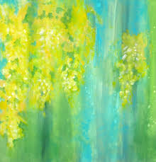 Colors For A Bathroom Pictures by Yellow Flowers Original Abstract Paintinglaburnum By Devikasart