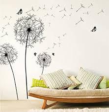 wandsticker4u wandtattoo pusteblumen ii schwarz i wandbilder 135x132 cm i wand aufkleber blumen löwenzahn schmetterlinge blüten pflanzen i deko für