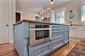 Blue Country Kitchen Island With Built In Microwave